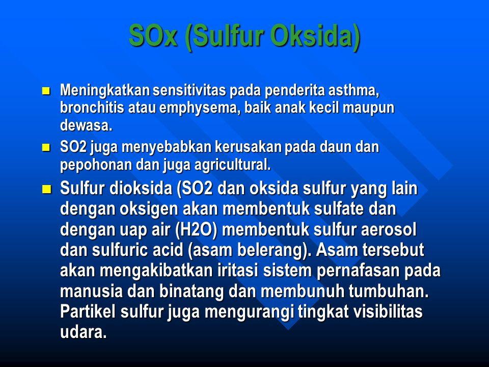 SOx (Sulfur Oksida) Meningkatkan sensitivitas pada penderita asthma, bronchitis atau emphysema, baik anak kecil maupun dewasa.