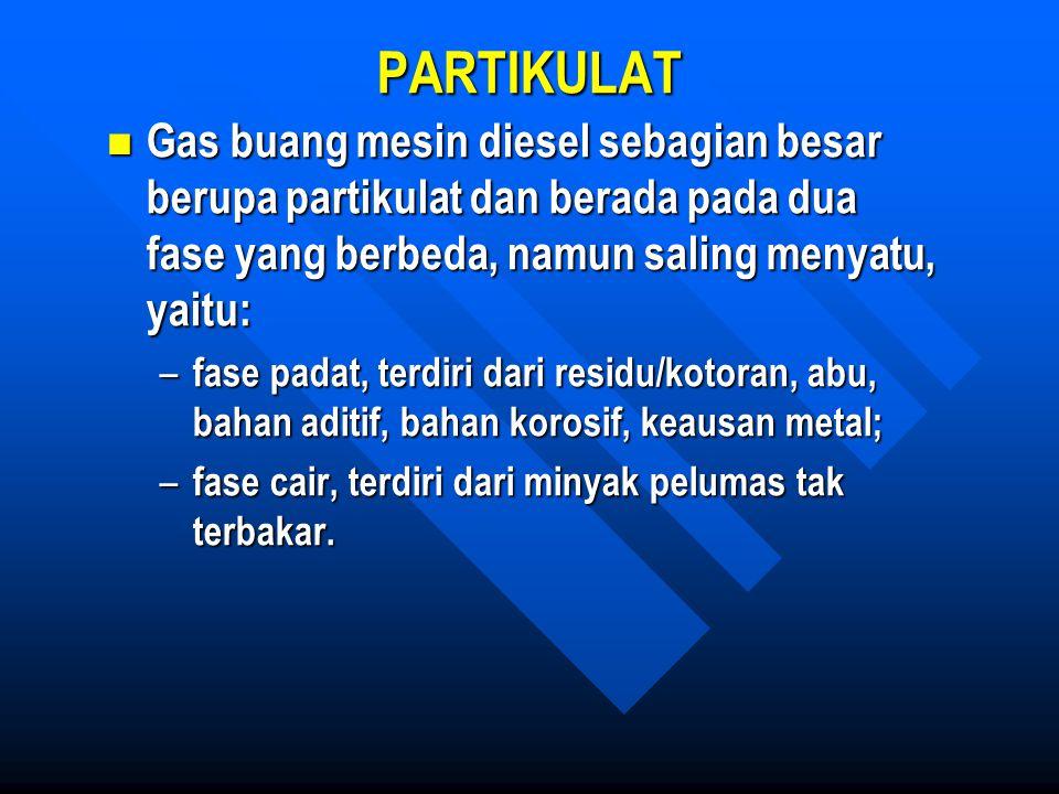 PARTIKULAT Gas buang mesin diesel sebagian besar berupa partikulat dan berada pada dua fase yang berbeda, namun saling menyatu, yaitu: