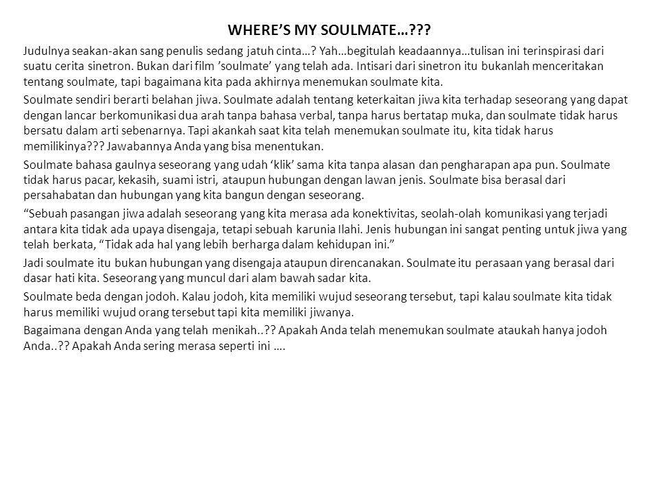 WHERE'S MY SOULMATE…