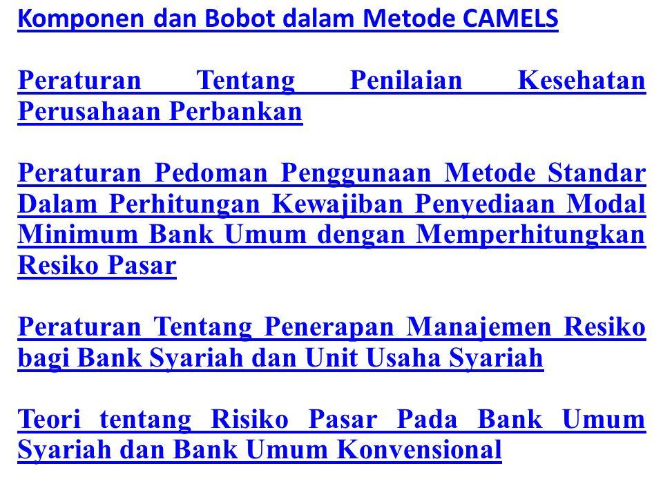 Komponen dan Bobot dalam Metode CAMELS Peraturan Tentang Penilaian Kesehatan Perusahaan Perbankan Peraturan Pedoman Penggunaan Metode Standar Dalam Perhitungan Kewajiban Penyediaan Modal Minimum Bank Umum dengan Memperhitungkan Resiko Pasar Peraturan Tentang Penerapan Manajemen Resiko bagi Bank Syariah dan Unit Usaha Syariah Teori tentang Risiko Pasar Pada Bank Umum Syariah dan Bank Umum Konvensional