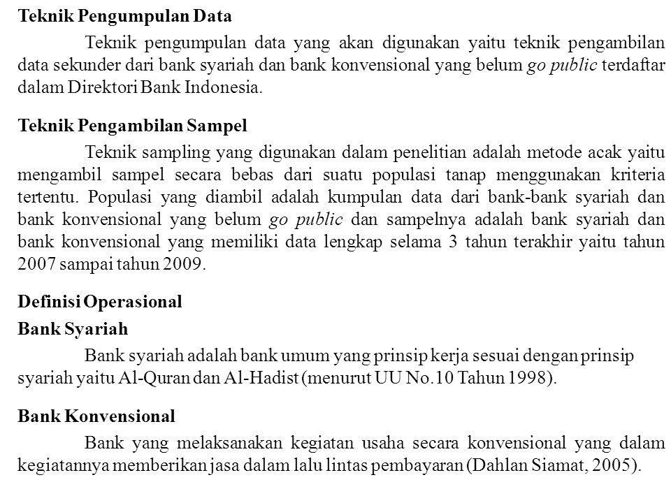 Teknik Pengumpulan Data Teknik pengumpulan data yang akan digunakan yaitu teknik pengambilan data sekunder dari bank syariah dan bank konvensional yang belum go public terdaftar dalam Direktori Bank Indonesia.