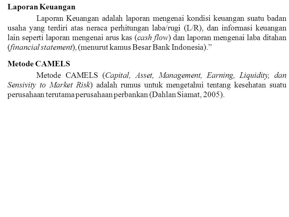 Laporan Keuangan Laporan Keuangan adalah laporan mengenai kondisi keuangan suatu badan usaha yang terdiri atas neraca perhitungan laba/rugi (L/R), dan informasi keuangan lain seperti laporan mengenai arus kas (cash flow) dan laporan mengenai laba ditahan (financial statement), (menurut kamus Besar Bank Indonesia). Metode CAMELS Metode CAMELS (Capital, Asset, Management, Earning, Liquidity, dan Sensivity to Market Risk) adalah rumus untuk mengetahui tentang kesehatan suatu perusahaan terutama perusahaan perbankan (Dahlan Siamat, 2005).
