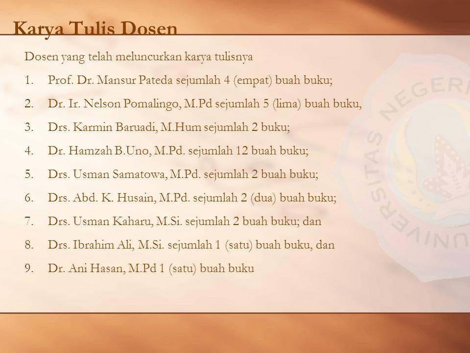 Karya Tulis Dosen Dosen yang telah meluncurkan karya tulisnya