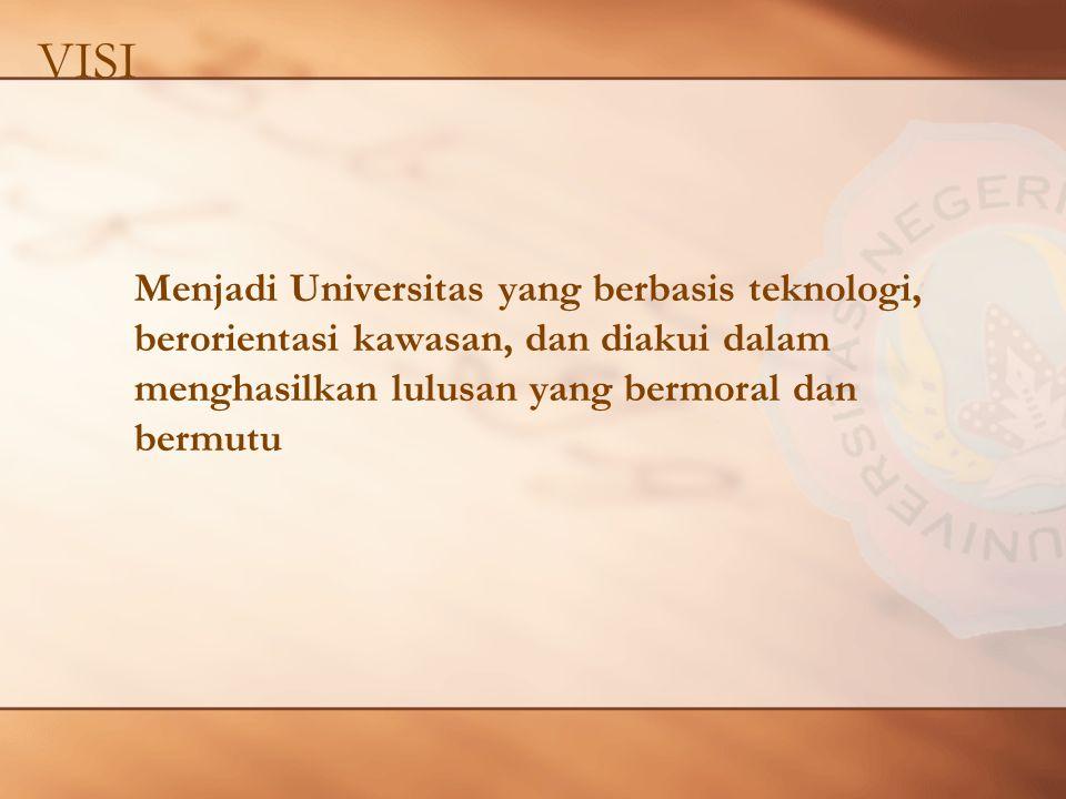 VISI Menjadi Universitas yang berbasis teknologi, berorientasi kawasan, dan diakui dalam menghasilkan lulusan yang bermoral dan bermutu.