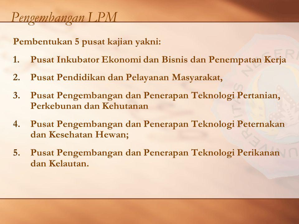 Pengembangan LPM Pembentukan 5 pusat kajian yakni: