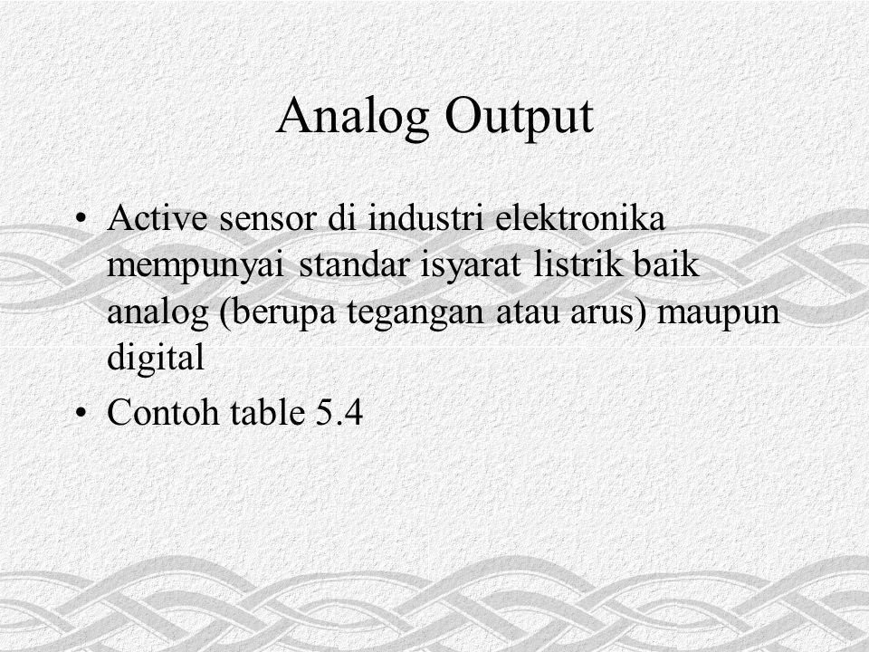 Analog Output Active sensor di industri elektronika mempunyai standar isyarat listrik baik analog (berupa tegangan atau arus) maupun digital.
