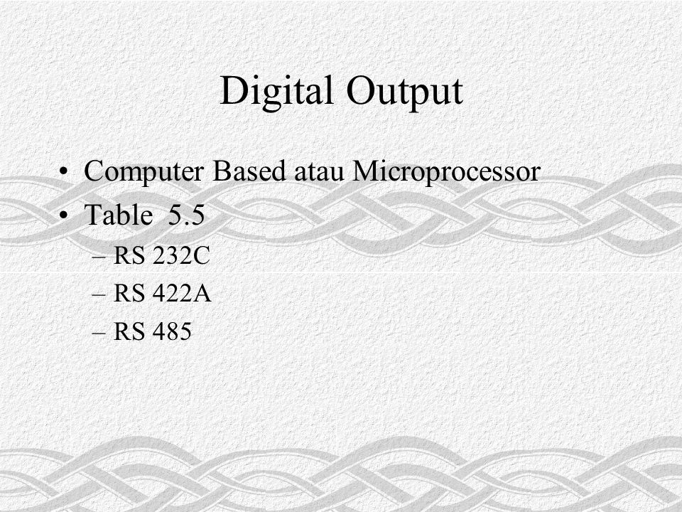 Digital Output Computer Based atau Microprocessor Table 5.5 RS 232C