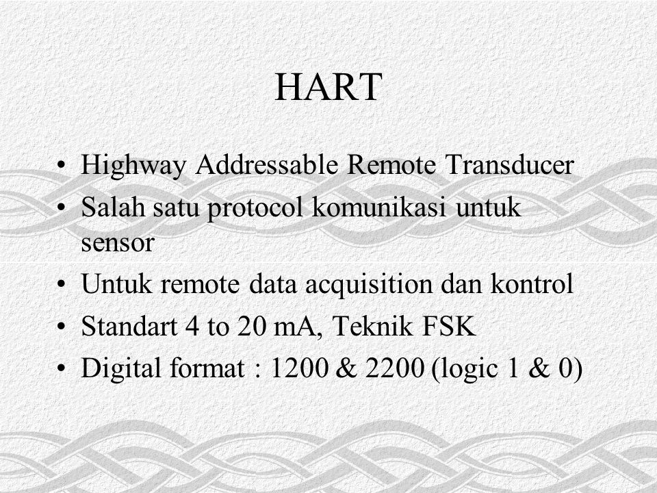 HART Highway Addressable Remote Transducer