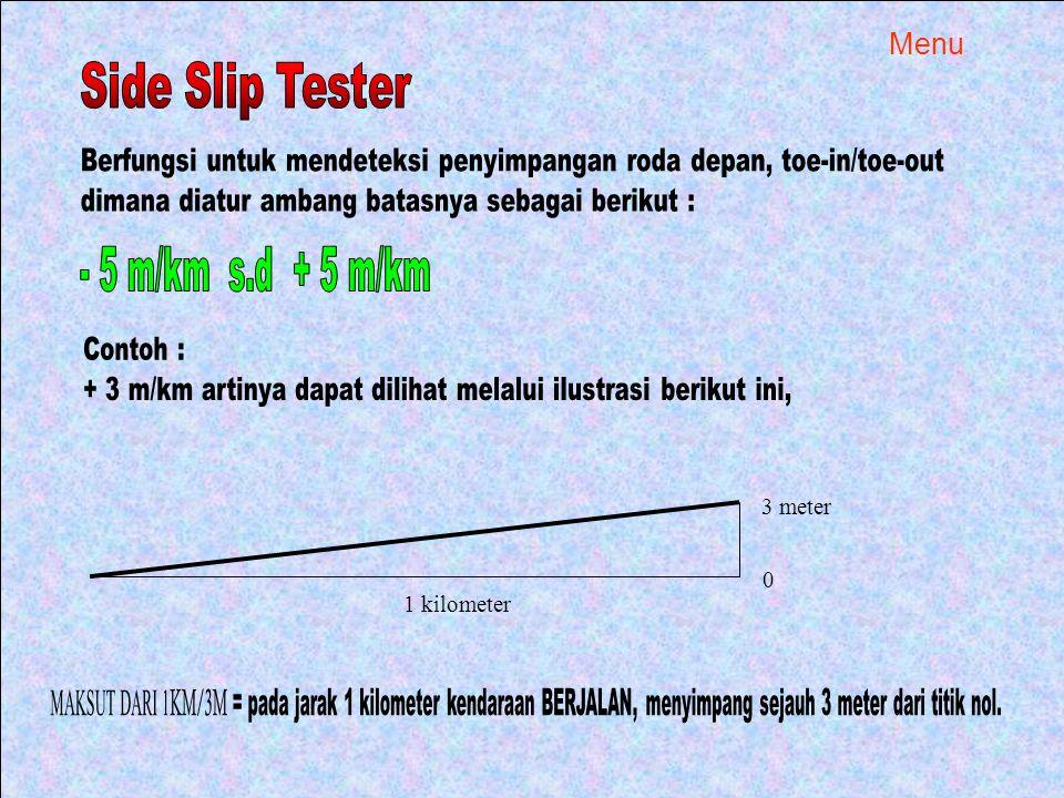Side Slip Tester - 5 m/km s.d + 5 m/km Menu
