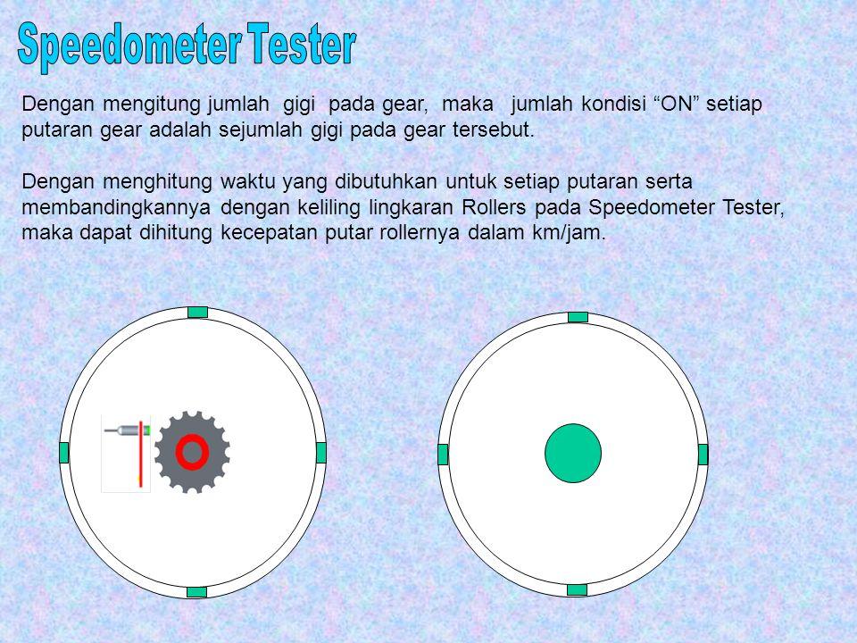 Speedometer Tester Dengan mengitung jumlah gigi pada gear, maka jumlah kondisi ON setiap putaran gear adalah sejumlah gigi pada gear tersebut.