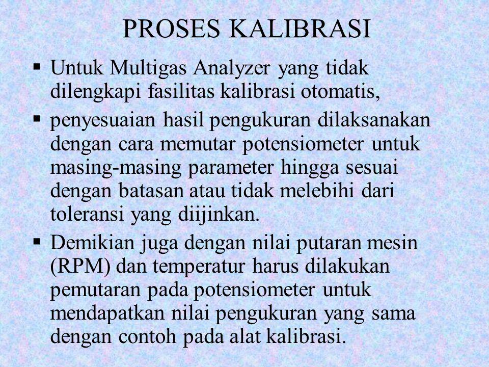 PROSES KALIBRASI Untuk Multigas Analyzer yang tidak dilengkapi fasilitas kalibrasi otomatis,