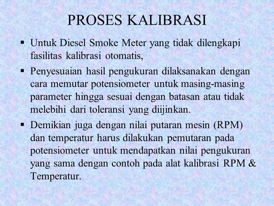 PROSES KALIBRASI Untuk Diesel Smoke Meter yang tidak dilengkapi fasilitas kalibrasi otomatis,