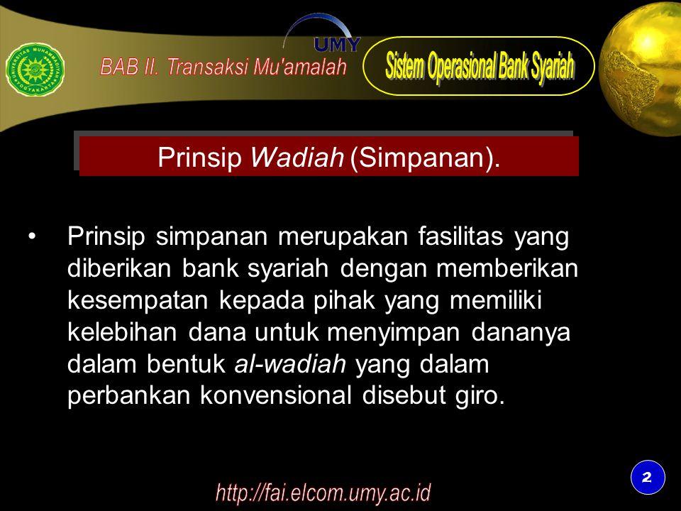 Prinsip Wadiah (Simpanan).