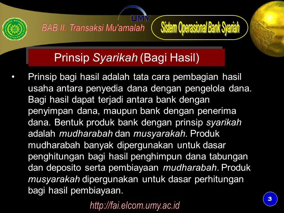 Prinsip Syarikah (Bagi Hasil)
