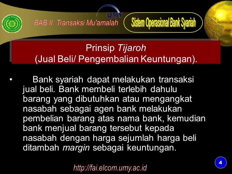 Prinsip Tijaroh (Jual Beli/ Pengembalian Keuntungan).