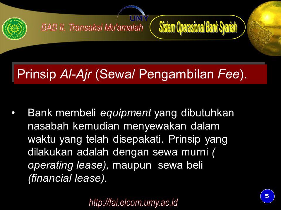 Prinsip Al-Ajr (Sewa/ Pengambilan Fee).