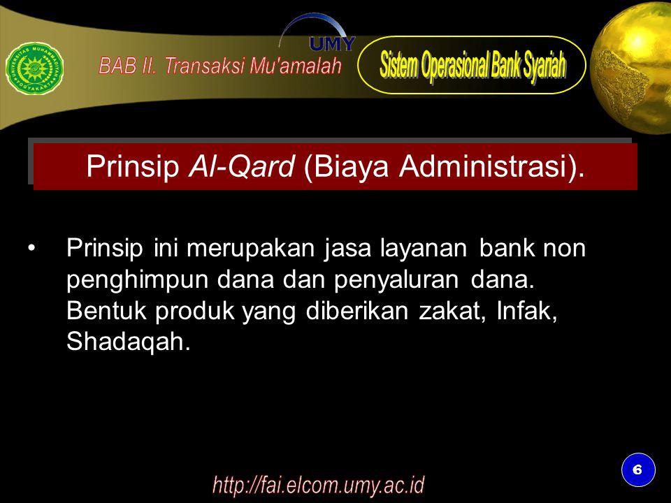 Prinsip Al-Qard (Biaya Administrasi).