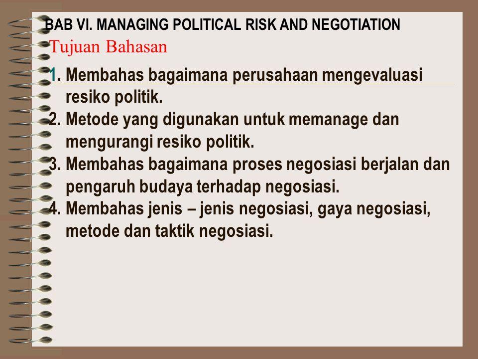 1. Membahas bagaimana perusahaan mengevaluasi resiko politik.