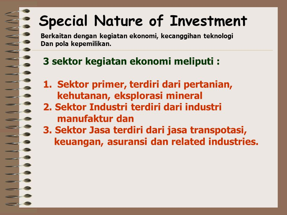 Special Nature of Investment