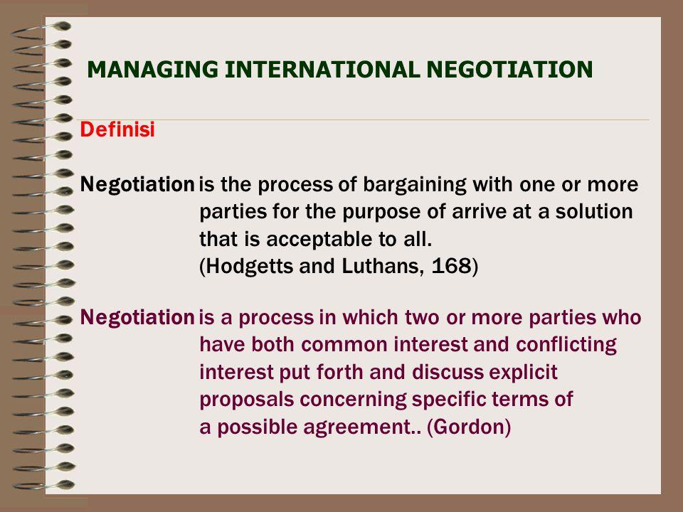 MANAGING INTERNATIONAL NEGOTIATION