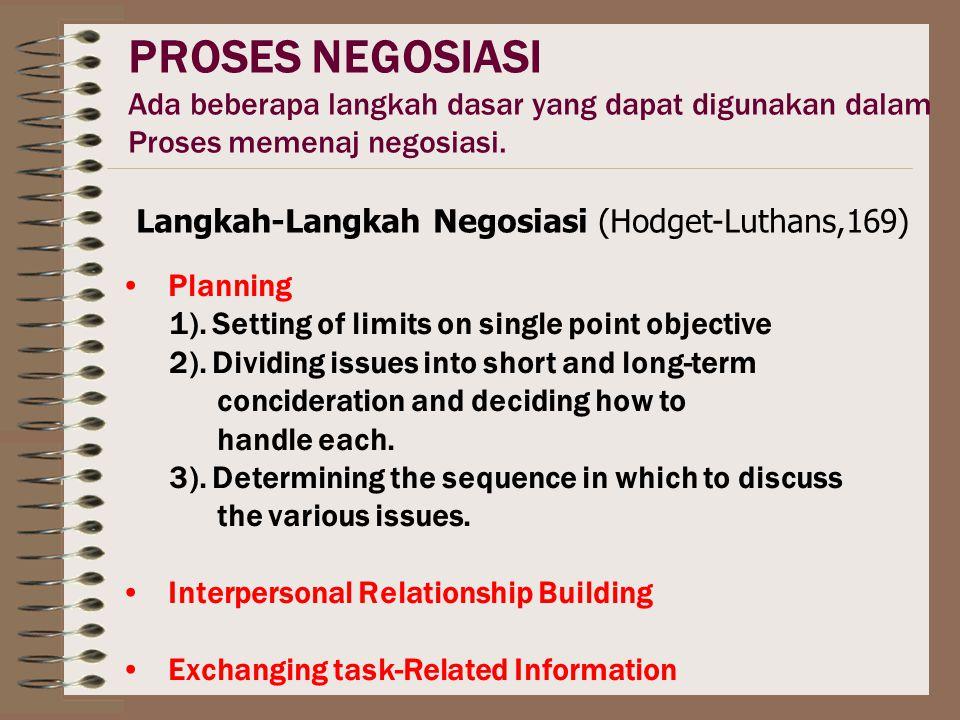PROSES NEGOSIASI Ada beberapa langkah dasar yang dapat digunakan dalam