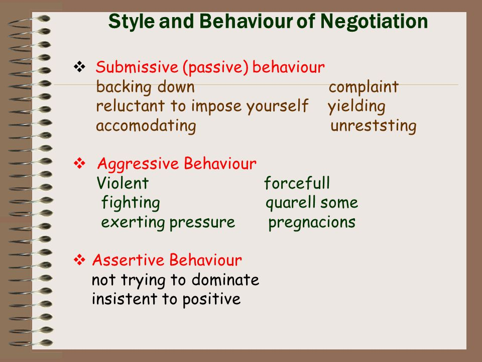 Style and Behaviour of Negotiation