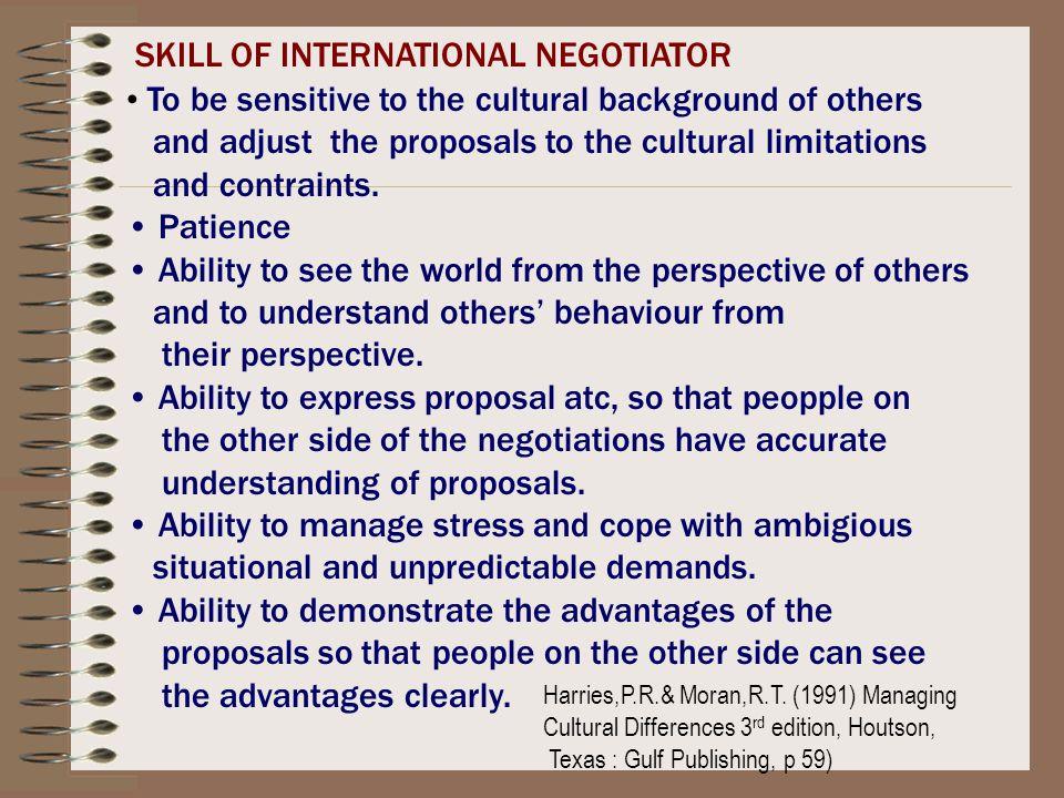 SKILL OF INTERNATIONAL NEGOTIATOR