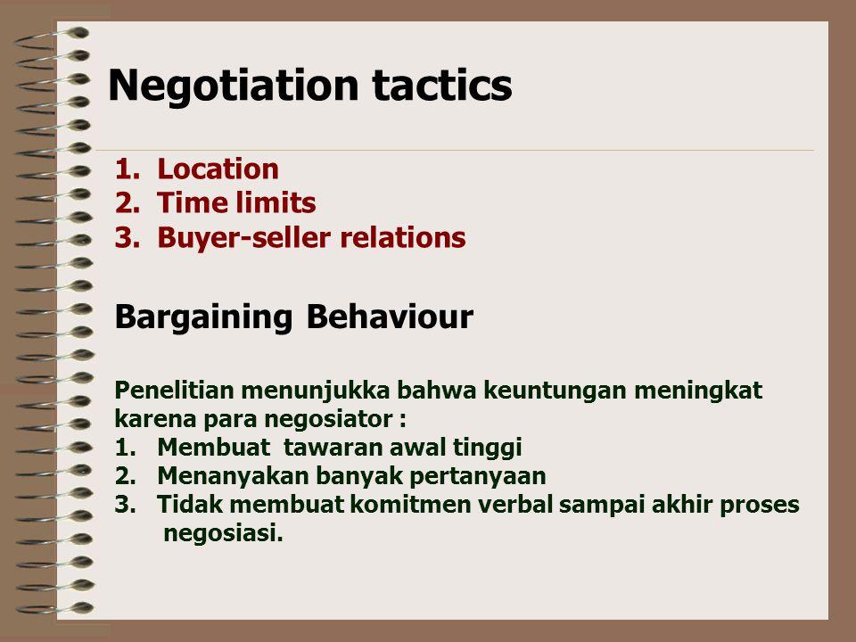 Negotiation tactics Bargaining Behaviour Location Time limits