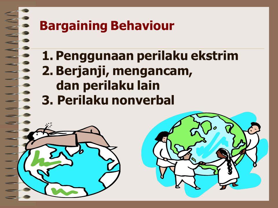 Bargaining Behaviour Penggunaan perilaku ekstrim. Berjanji, mengancam, dan perilaku lain.