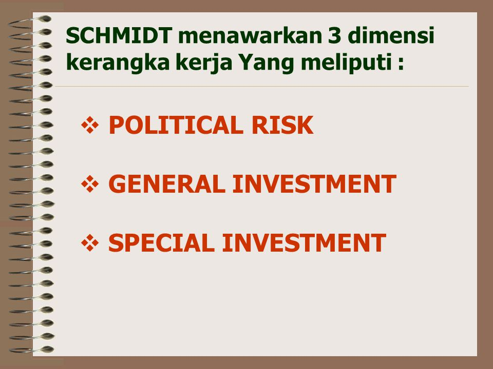 POLITICAL RISK GENERAL INVESTMENT SPECIAL INVESTMENT
