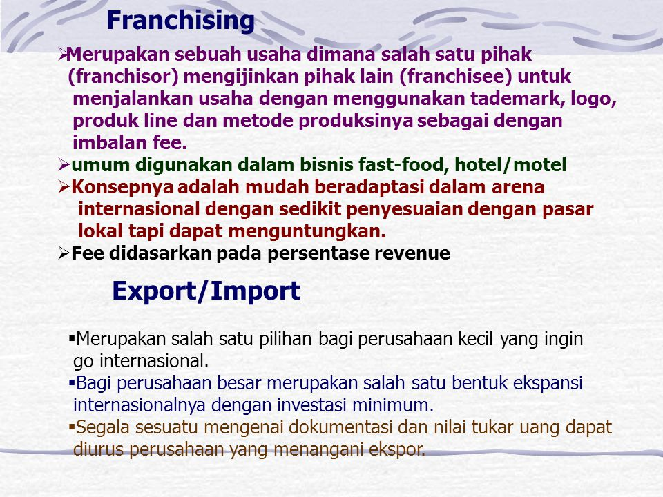 Franchising Export/Import