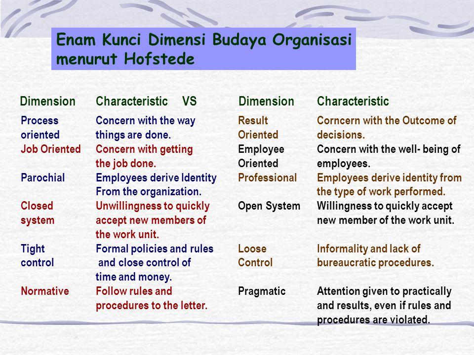 Enam Kunci Dimensi Budaya Organisasi menurut Hofstede
