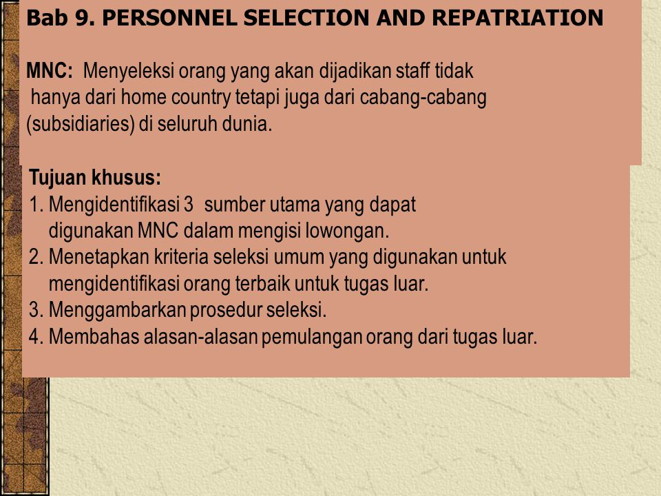 Bab 9. PERSONNEL SELECTION AND REPATRIATION