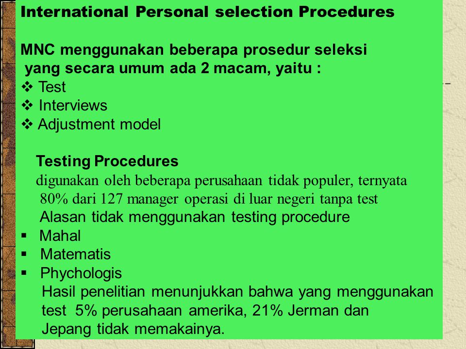 International Personal selection Procedures