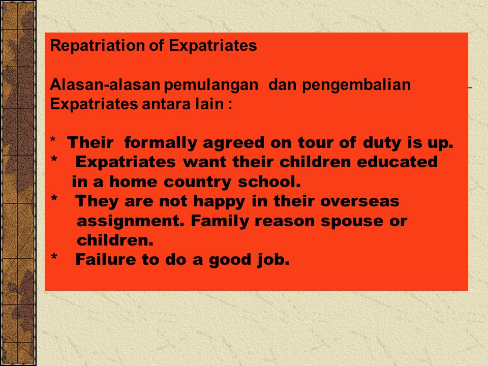 Repatriation of Expatriates