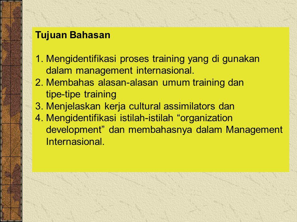 Tujuan Bahasan 1. Mengidentifikasi proses training yang di gunakan. dalam management internasional.
