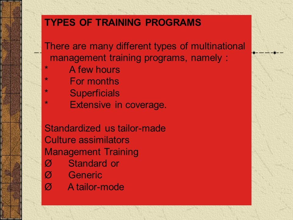 TYPES OF TRAINING PROGRAMS