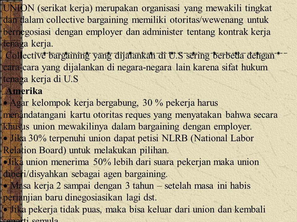 UNION (serikat kerja) merupakan organisasi yang mewakili tingkat dan dalam collective bargaining memiliki otoritas/wewenang untuk bernegosiasi dengan employer dan administer tentang kontrak kerja tenaga kerja.