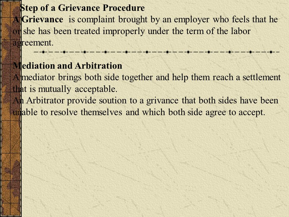 Step of a Grievance Procedure