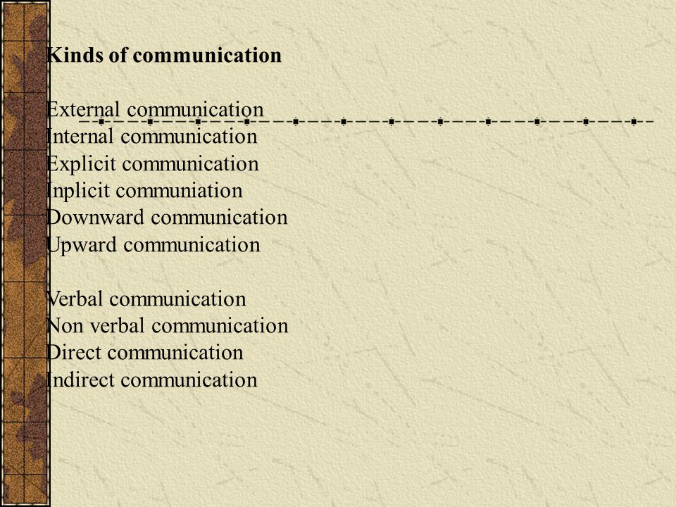 Kinds of communication