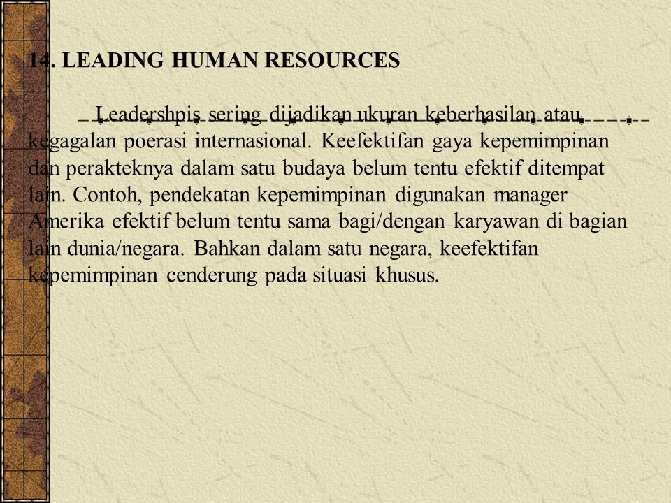 14. LEADING HUMAN RESOURCES