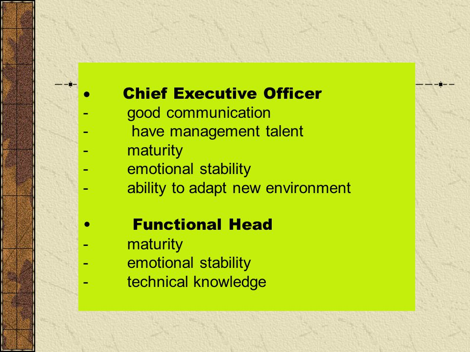 · Chief Executive Officer