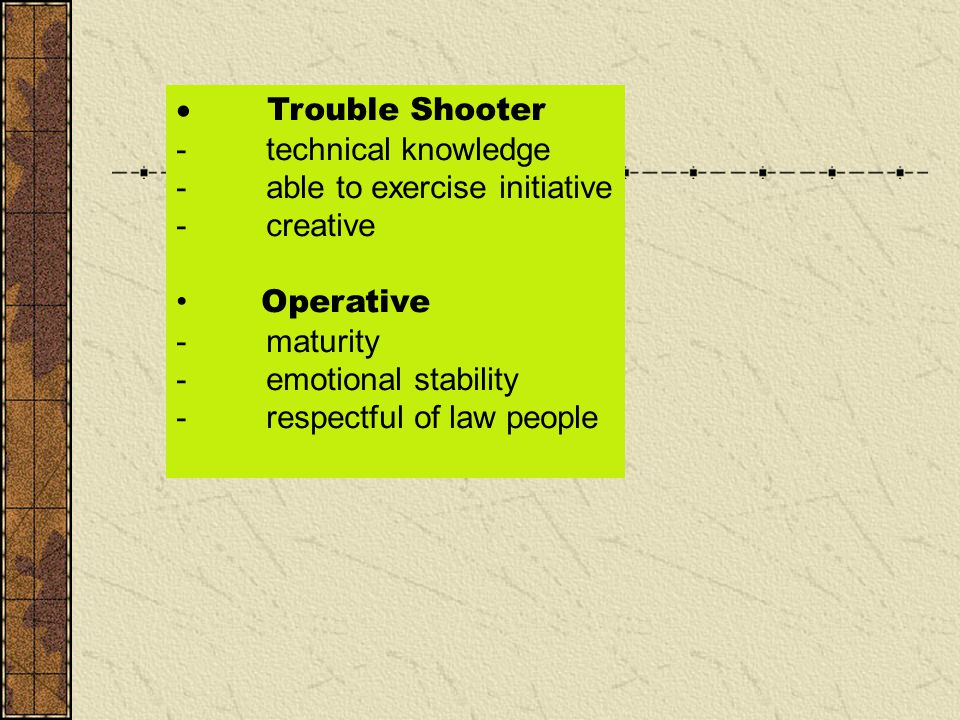 · Trouble Shooter - technical knowledge. - able to exercise initiative. - creative.