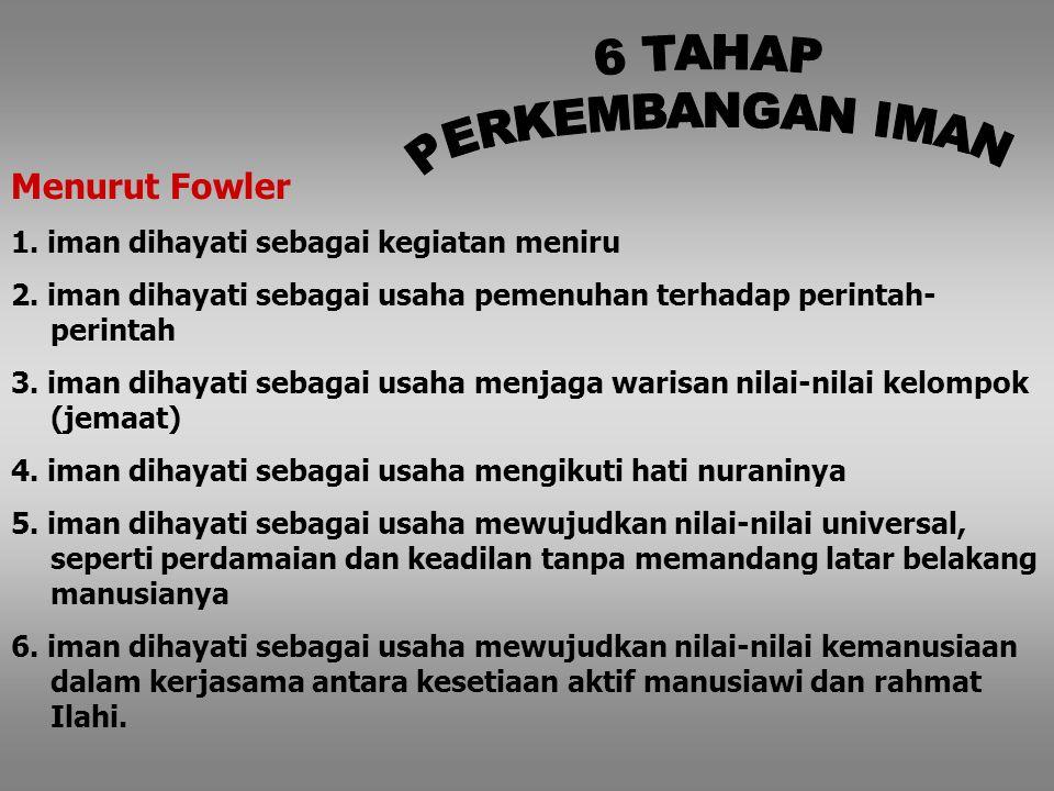 6 TAHAP PERKEMBANGAN IMAN Menurut Fowler