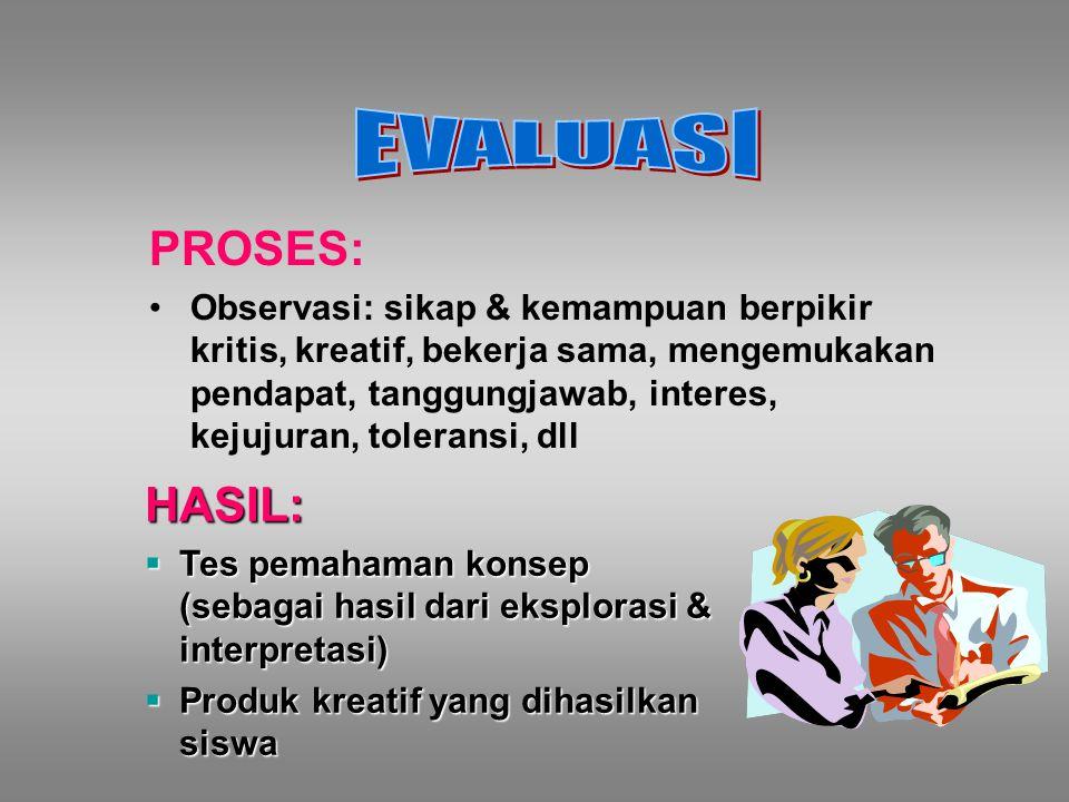 EVALUASI PROSES: HASIL: