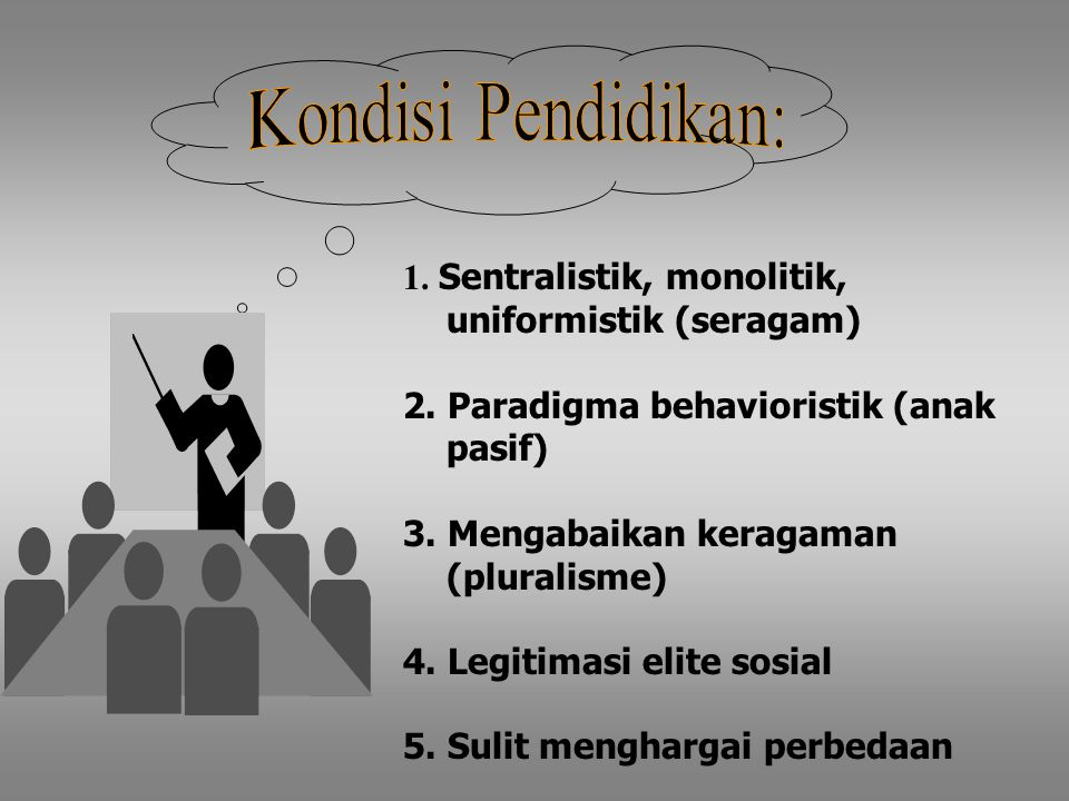 Kondisi Pendidikan: 1. Sentralistik, monolitik, uniformistik (seragam)