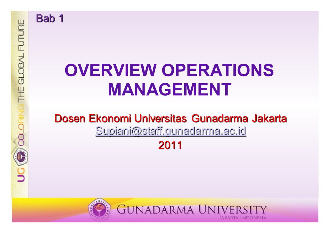 OVERVIEW OPERATIONS MANAGEMENT