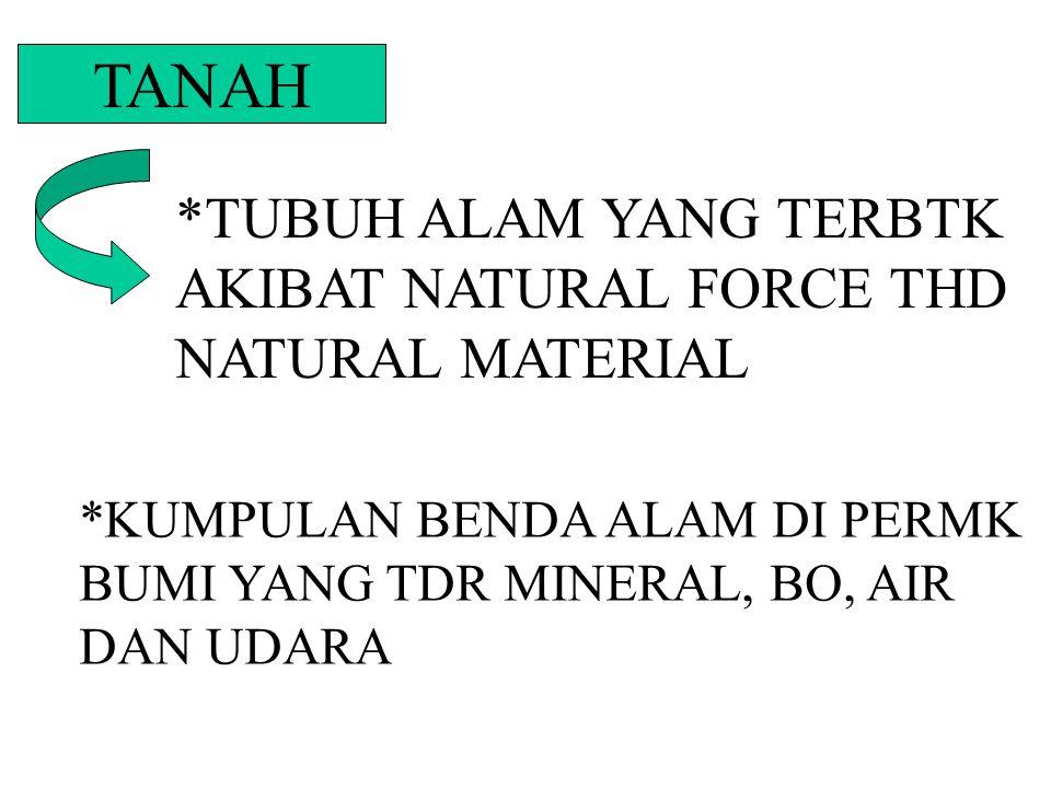 TANAH *TUBUH ALAM YANG TERBTK AKIBAT NATURAL FORCE THD