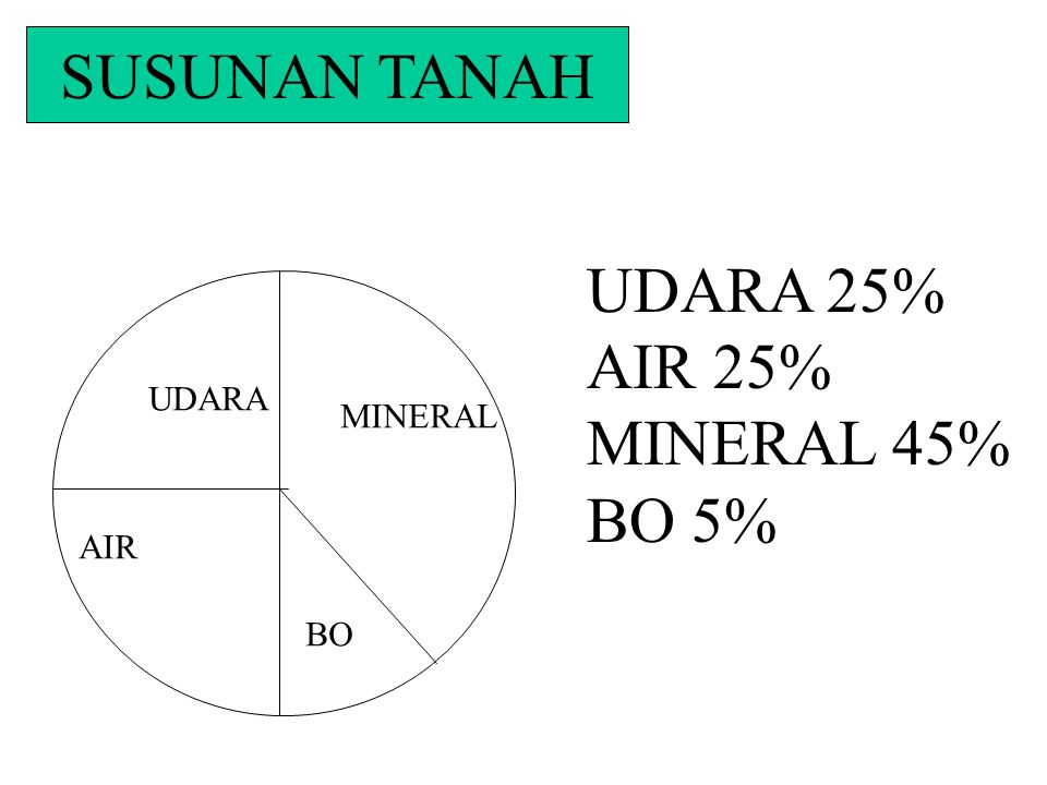 SUSUNAN TANAH UDARA 25% AIR 25% MINERAL 45% BO 5% UDARA MINERAL AIR BO