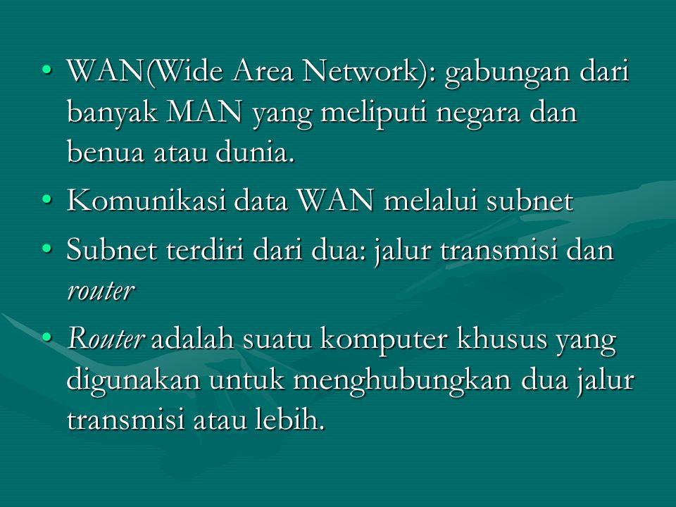 WAN(Wide Area Network): gabungan dari banyak MAN yang meliputi negara dan benua atau dunia.